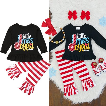 Kids Baby Girl Clothes Xmas Dress Top T-shirt+Stripe Pants Toddler Outfit Set