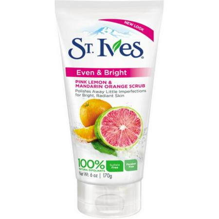 St. Ives Even & Bright Scrub, Pink Lemon & Mandarin Orange 6 oz (Pack of
