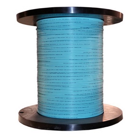 6 Fiber Indoor Distribution Fiber Optic Cable, Multimode, 50/125, OM3, 10 Gbit, Aqua, Riser Rated, Spool, 1000 foot