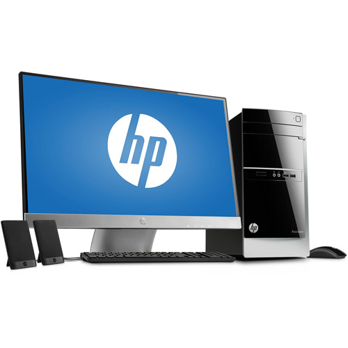 """HP Black Pavilion 500-037CB Desktop PC Bundle with AMD Quad-Core A10-5700 Accelerated Processor, 12GB Memory, 27"""" Monitor, 2TB Hard Drive and Windows 8 Operating System"""