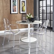 Modway Resolve 5-Piece Dining Table Set with Casper Clear Chairs