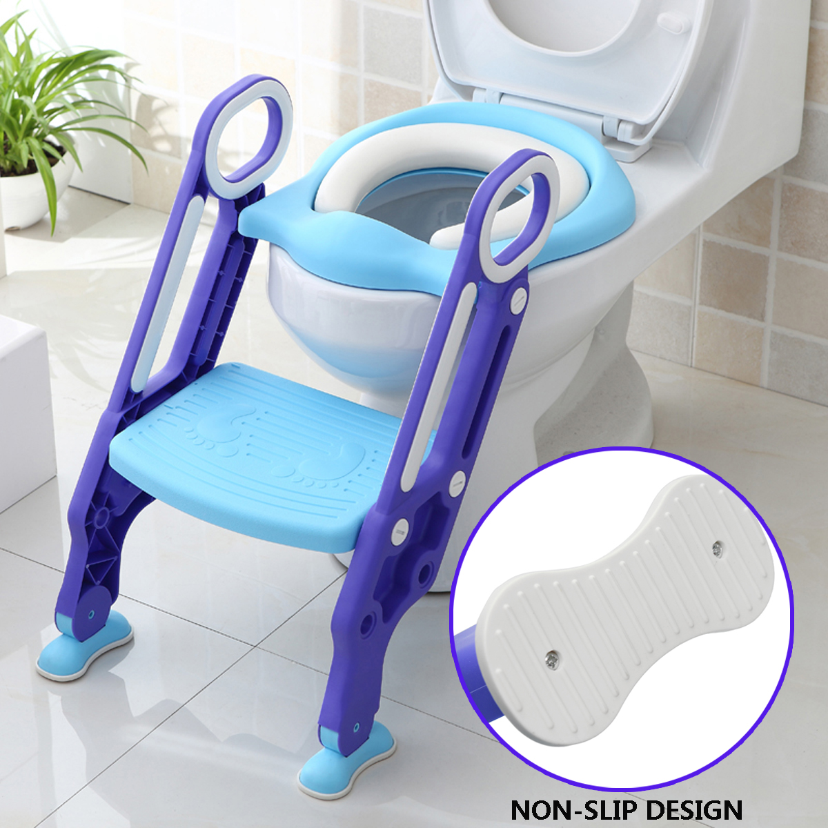 Trainer Toilet Potty Soft Padded Seat Chair Kids Toddler w  Ladder Step Up Stool by Generic