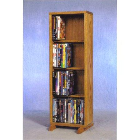 Solid Wood Veneer Cd Dvd - The Wood Shed Solid Oak 4 Row Dowel CD / DVD Combination Media Rack - 12 in. Wide