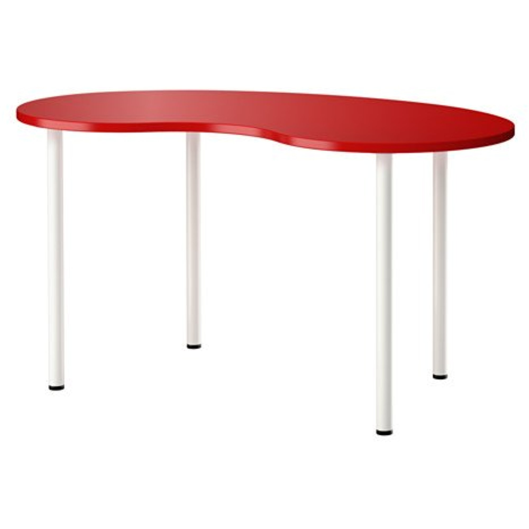 Ikea Computer Table, cashew shape red, white 55 1/8x29 1/...