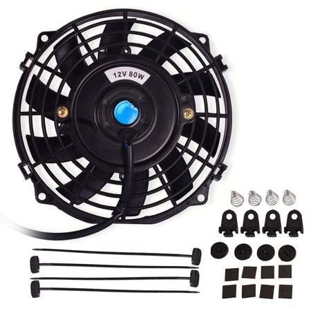 Universal Slim Fan Push Pull Electric Radiator Cooling Fans 12V 80W Engine Fan with Mount Kit (Diameter 8.27