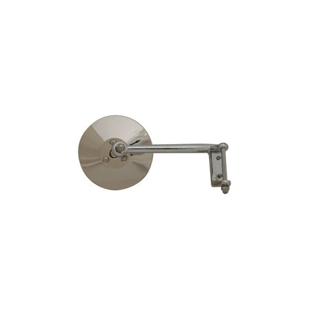 MACs Auto Parts 28-21914 Model A Ford Outside Rear View Mirror - Closed Cars Only - Hinge Type - Chrome With Stainless Mirror Head - Right Side
