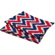 Bacati - MixNMatch Zigzag Crib/Toddler Bed Fitted Sheets 100% Cotton Percale, Navy/Red, 2-Pack