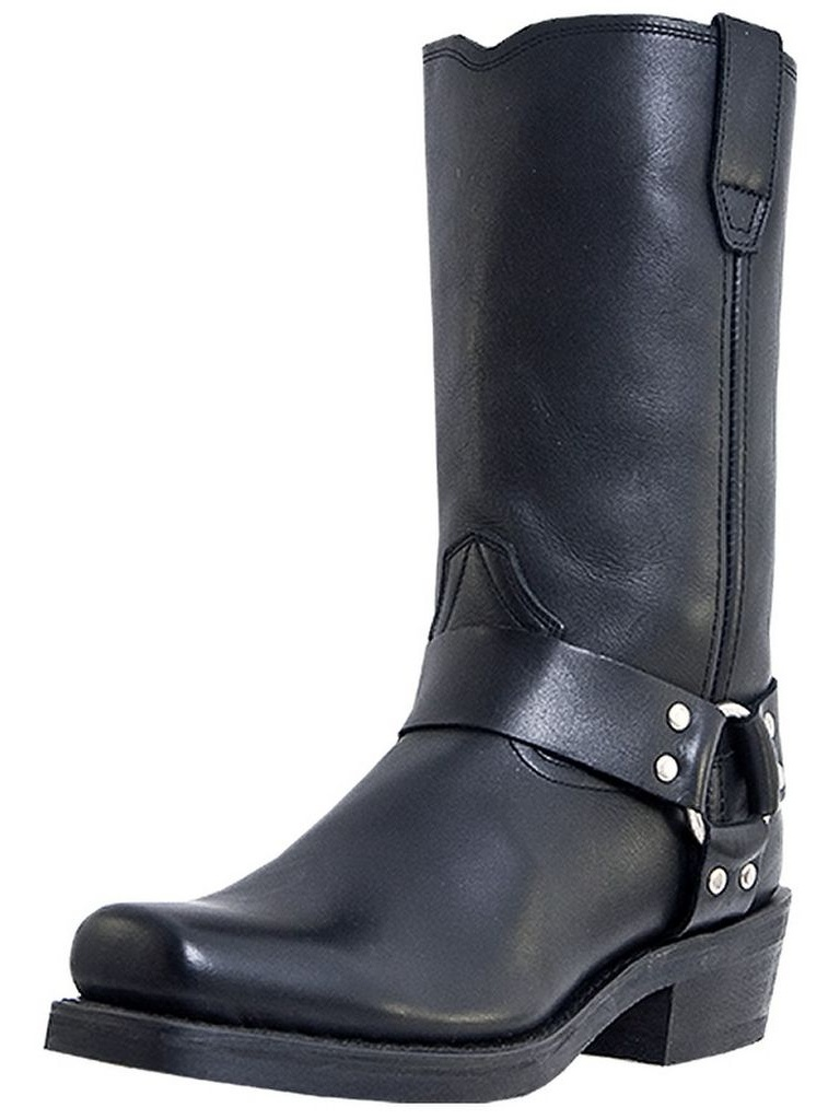 Dingo Motorcycle Boots Mens Leather Jay Harness Black DI19057 by Dingo