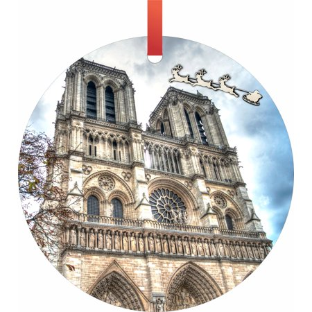 Santa and Sleigh Riding Over The Notre Dame Cathedral - TM - Flat Round-Shaped Holiday Tree Ornament Made in the USA - Halloween Tree Notre Dame