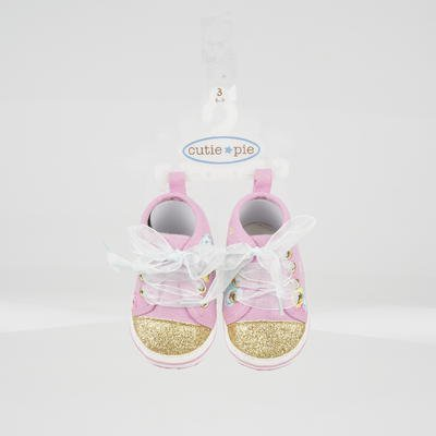 New 212356  Cutie Pie Pink / Gold Baby Sneakers With Shoelaces (144-Pack) Footwear Cheap Wholesale Discount Bulk Baby Footwear Fish - Cutie Pie Shoes