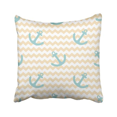 ARTJIA Green Chevron Sailor Pattern With Blue Anchor On Pastel Zig Zag Navy Abstract Baby Cute Pillowcase Cover 18x18 inch (Blue Pastel)