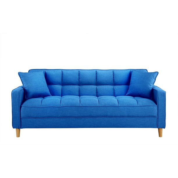 Modern Tufted Small Space Living Room Sofa Blue Walmart Com Walmart Com