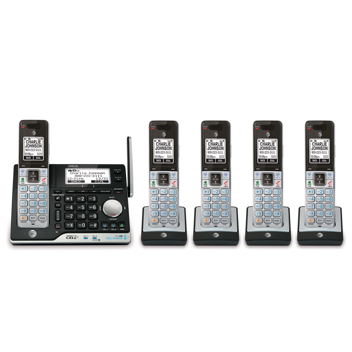 AT&T 5 Handset Answering System w/ Bluetooth Connect & Caller ID/Call Waiting