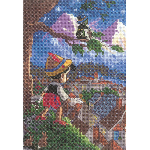MCG Textiles Disney Dreams Collection By Thomas Kinkade Pinocchio Vignette 5x7 18 Count Multi-Colored
