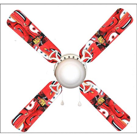 888 Cool Fans F42-0001059 42 in. Lightning McQueen Cars 4-Blades Ceiling Fan with Schoolhouse Lamp