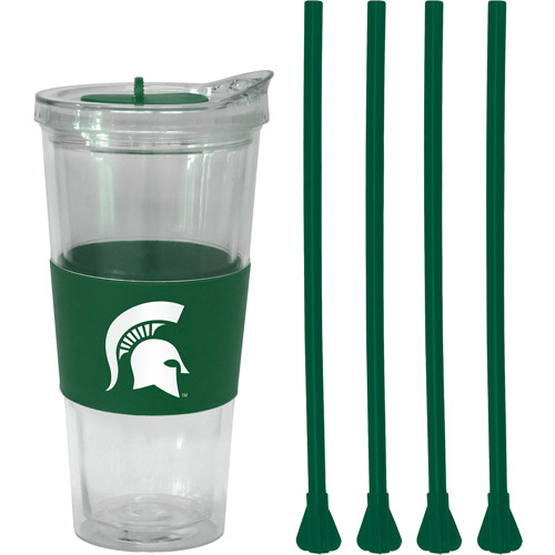 22oz NCAA Michigan State Spartans Straw Tumbler with 4 Colored Replacement Propeller Straws