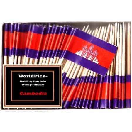 One Box Cambodia Toothpick Flags, 100 Small Cambodian Cupcake Flag Toothpicks or Cocktail Picks