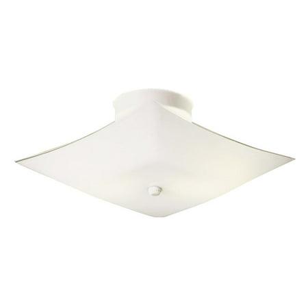 Design House 501353 2-Light Square Glass Flush Mount Ceiling Light 13.5-Inch, Frosted White Glass, White Finish