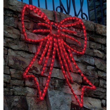 19 Lighted Red Wire Frame Bow Silhouette Hanging Christmas Decoration