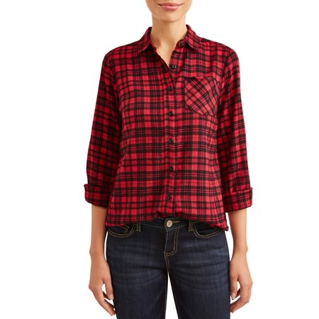 Women's Flannel Shirt with Gold Detail