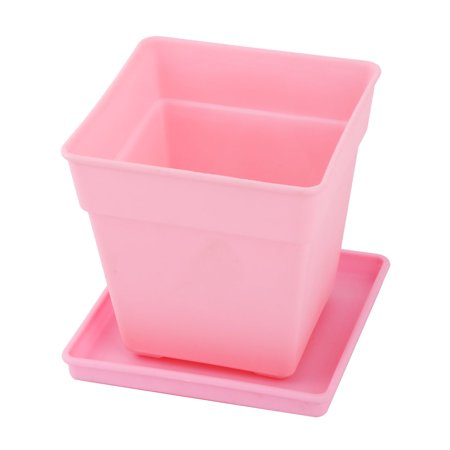 Balcony Decor Plastic Square Flower Cactus Plant Pot Tray Holder Container Pink