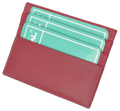 Premium Hot pink Soft Genuine Leather Simple Credit Card Holder