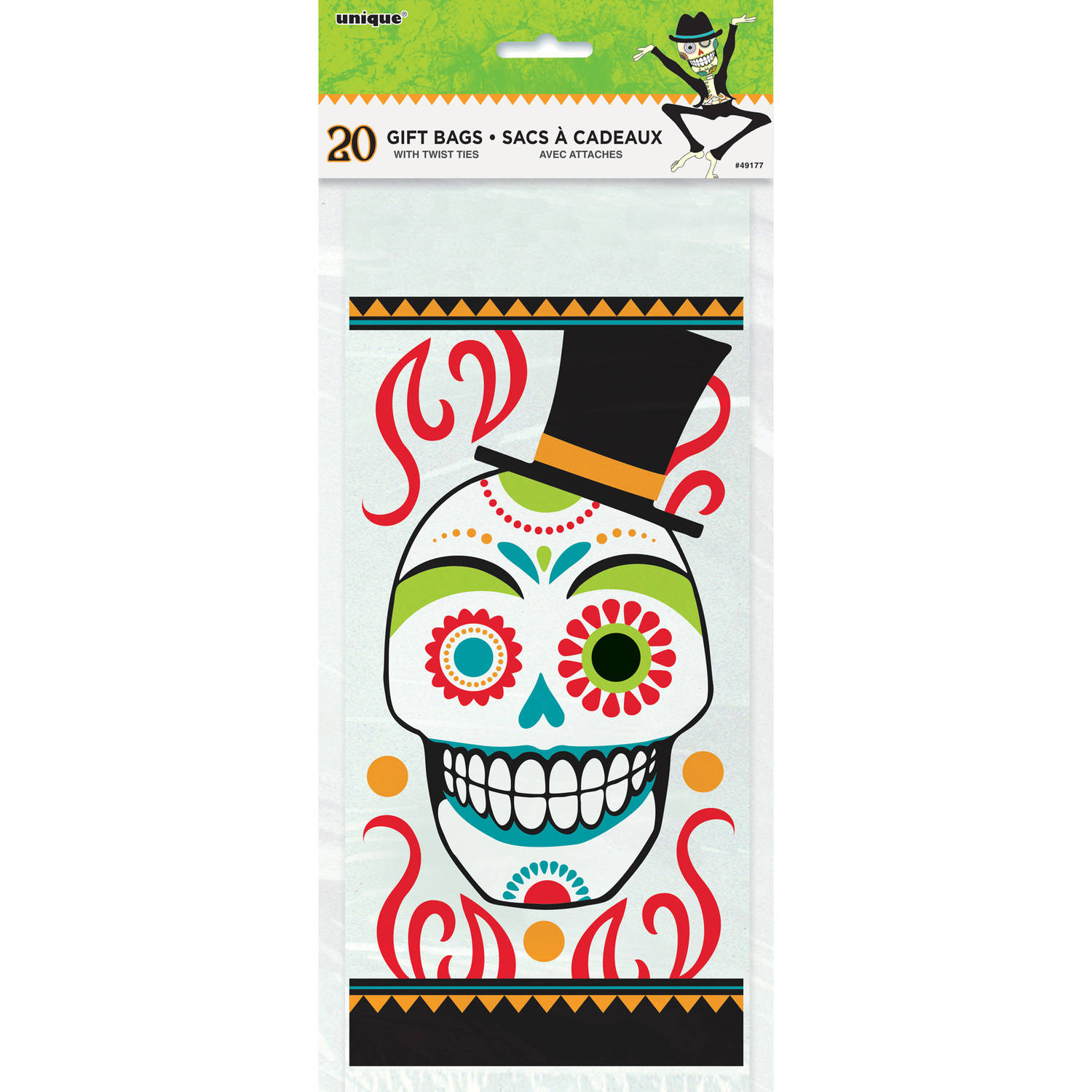 Day of the Dead Halloween Cellophane Bags, 20ct