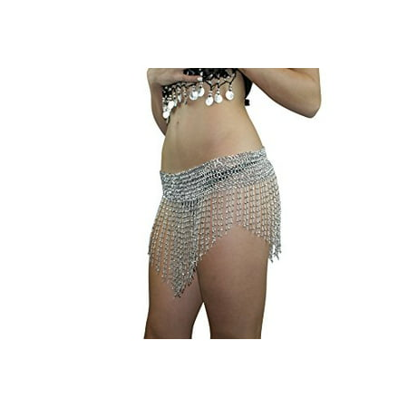 Hip Shakers Beaded Elastic Waist Rave Belly Dance Skirt Hip scarf Halloween Belly Dancer Costume Silver (Denver Halloween 2017 Bars)