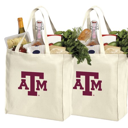 TAMU Aggies Shopping Bags or Cotton Texas A&M Grocery Bags - 2 Pc Set