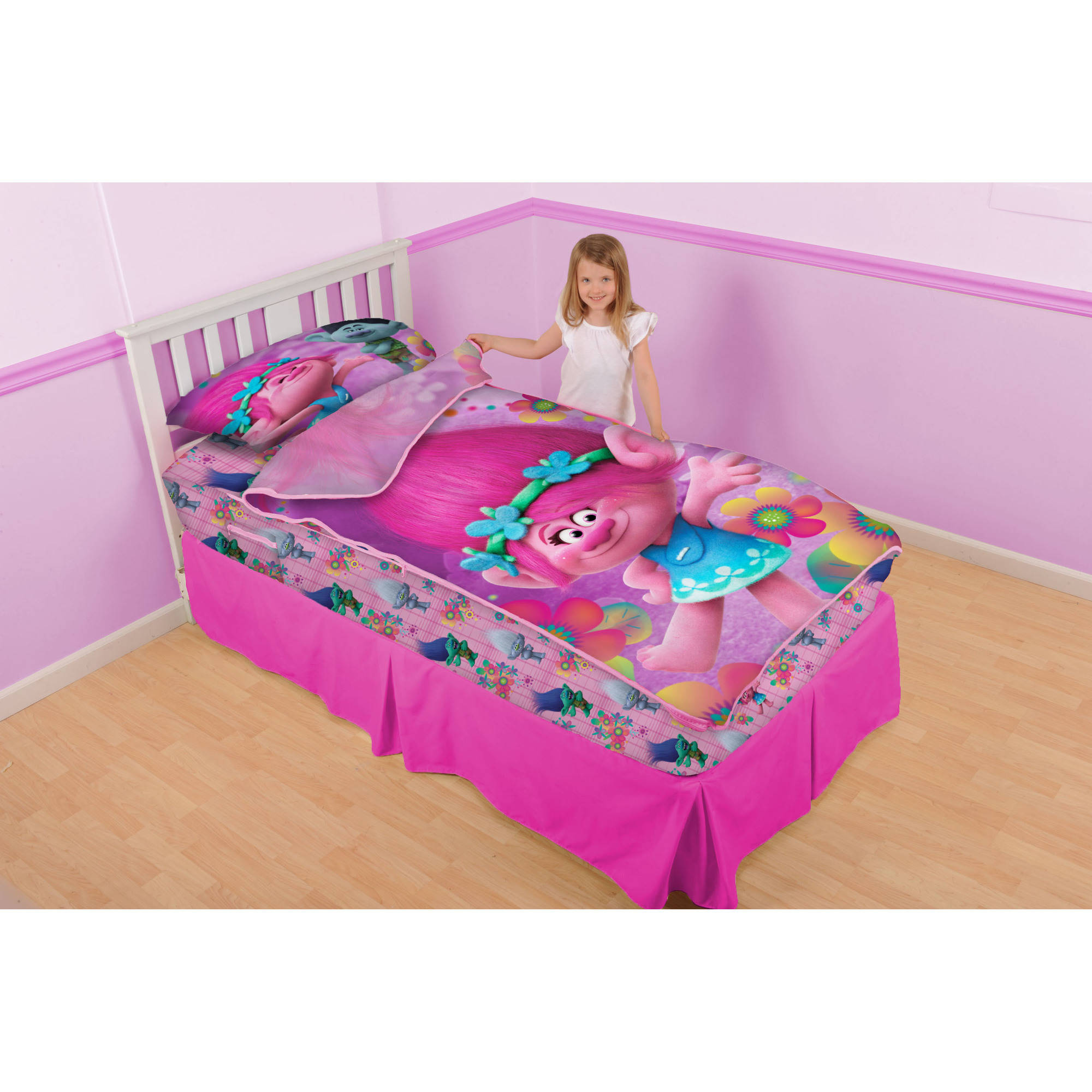 dreamworks trolls u0027poppy and petalsu0027 zip it bedding set with pillowcase walmartcom