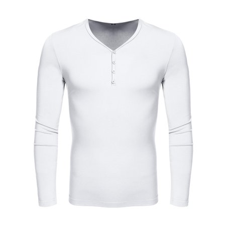 Leisure Pure Cotton (Fashion Men V-Neck Long Sleeve Pure Color Cotton Slim Basic Tee Leisure Casual Tops T-shirt HITC )