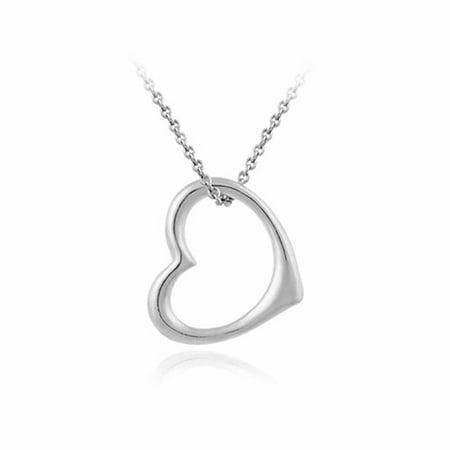 Designer Open Sterling Silver Floating Heart Sleek Pendant