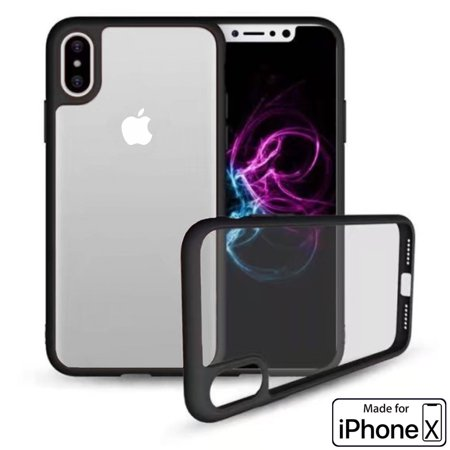 Apple iPhone X [Ultra Hybrid] Clear Hybrid TPU Bumper Case Cover (Black) - image 3 de 3