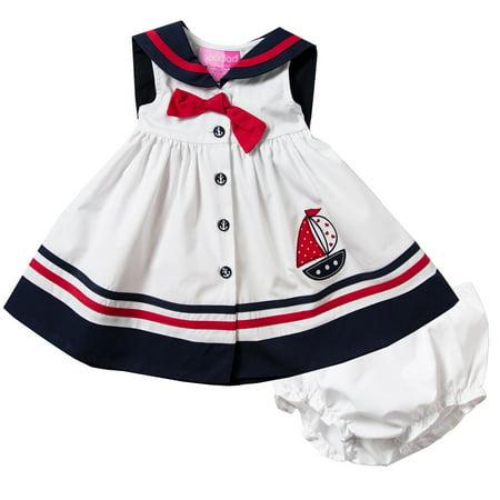 Nautical Girl (Good Lad Newborn/Infant Girls White Nautical Dress with Matching Panty)