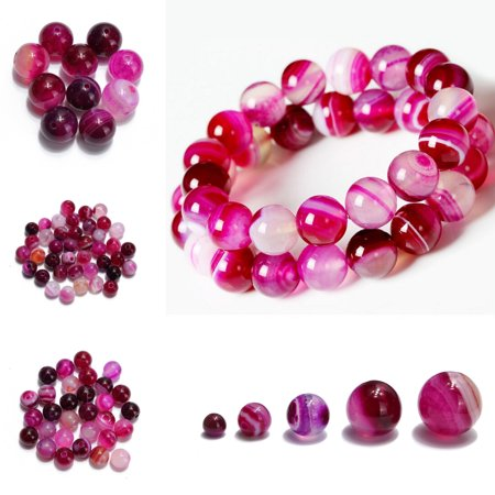 Women Ladies Natural Striped Agate Round Gemstone Loose Spacer Beads DIY Gift,4mm-40pcs color