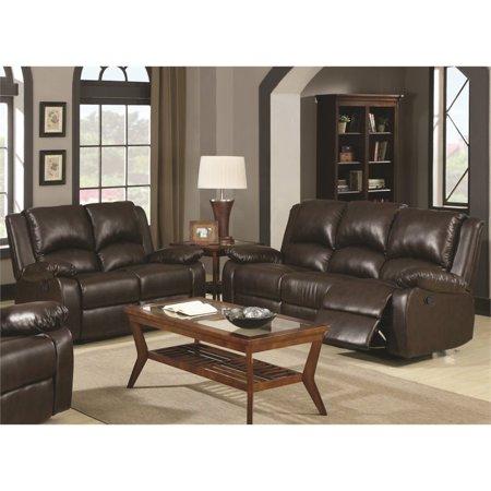 Coaster Boston 2 Piece Leather Reclining Sofa Set In Brown Walmart Com