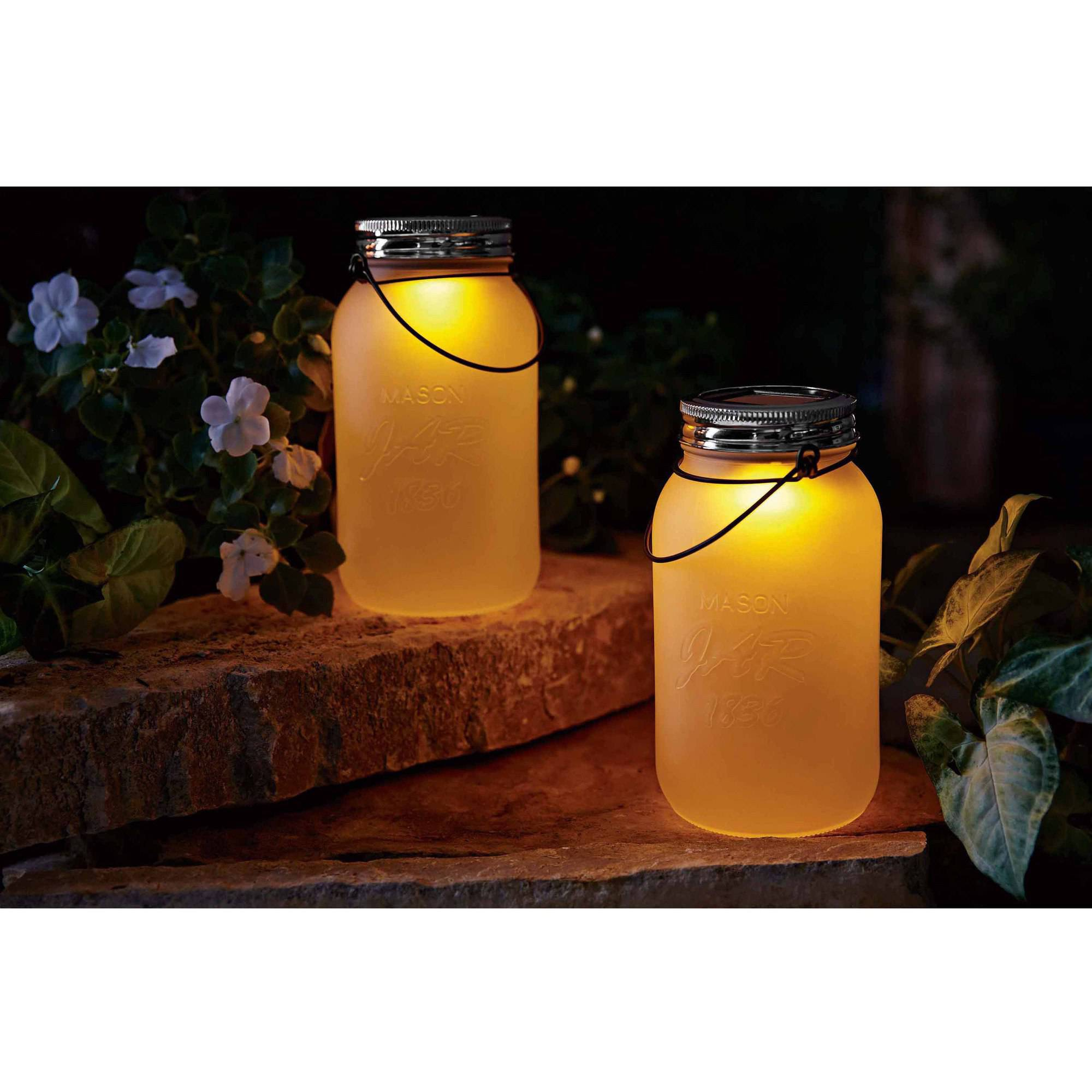 Mainstays Frosted Mason Jar Solar Powered Decorative Light