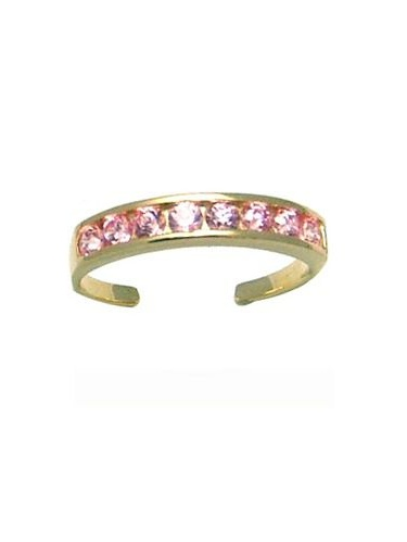 ROUND Channel-Set PINK CZ Eternity Band 14K Yellow Gold Toe Ring