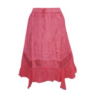 Mogul Women's A- Line Skirt Pink Embroidered Medieval Rayon Skirts