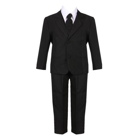 Boys Black 5 Piece Classic Vest Jacket Pants Special Occasion - Black Boys Suits
