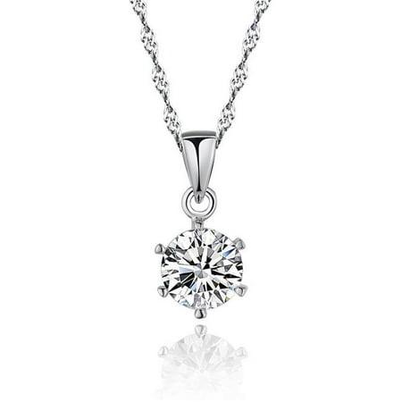 Harry Chad Enterprises HC10274 1 CT 14K White Gold Round Cut Prong Setting Diamond Pendant Necklace - image 1 of 1