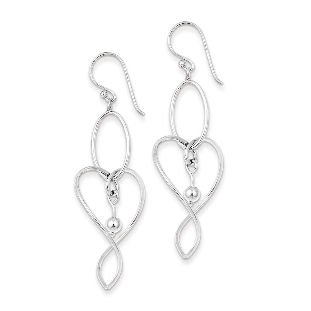Sterling Silver Rhodium Plated Heart Dangle Earrings (1.8IN x 0.6IN )