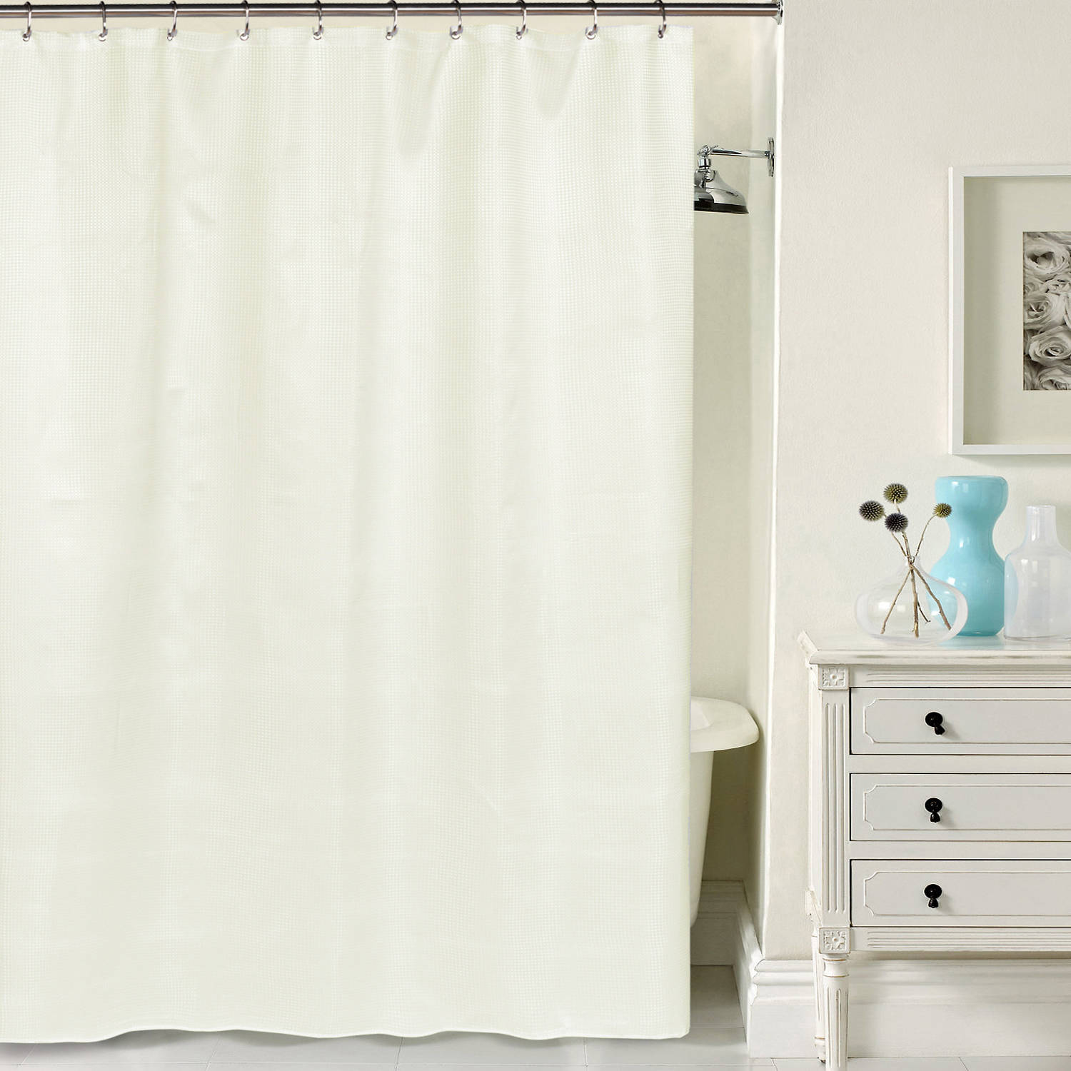 "Hotel Quality Waffle Weave Shower curtain with Metal Grommets, 70"" x 72"""