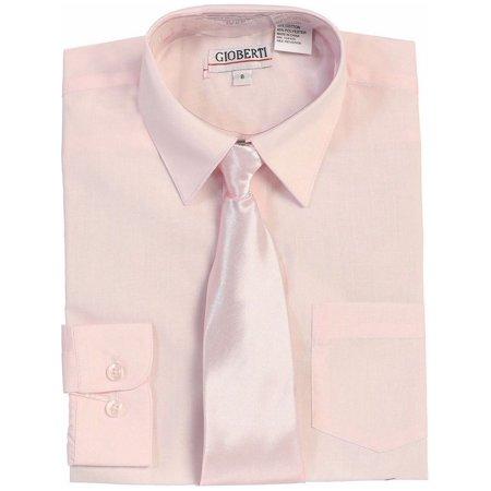 5a1519806 Gioberti - Gioberti Little Boys Pink Solid Color Shirt Tie Formal 2 ...