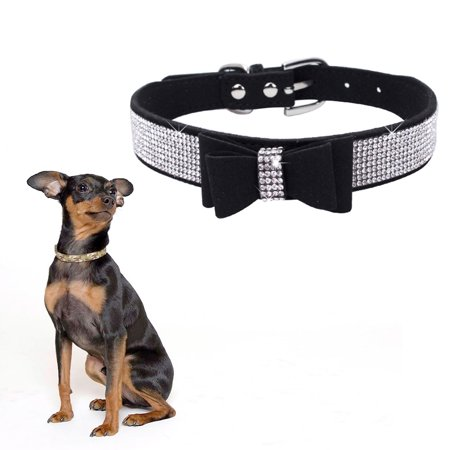 Bling Crystal Dog Collar Metal Adjustable Puppy Bow Tie Rhinestone Soft Collars Pet Supplies for Small Medium Dogs