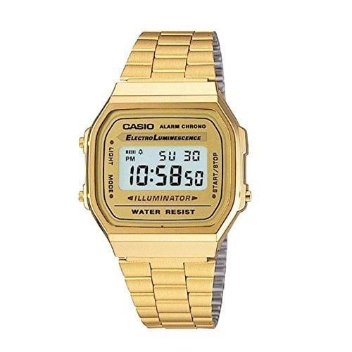 Casio Men's 'Vintage' Digital Illuminator Gold-Tone Stainless Steel Watch A168WG-9