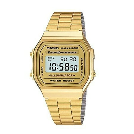 Casio Men's 'Vintage' Digital Illuminator Gold-Tone Stainless Steel Watch A168WG-9