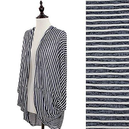 StylesILove Stripe Bed Women's Cardigan Jacket Shawl (Navy)