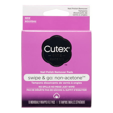 (Cutex Swipe and Go Non-Acetone Remover Pads, 10 Ct, 10 Count)