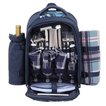 Zeny 4 Person Premium Picnic Outdoor Backpack Bag With Blanket – Woven Grey Waterproof Finish, Includes 17 Piece Dining Set and Insulated Cooler Compartment